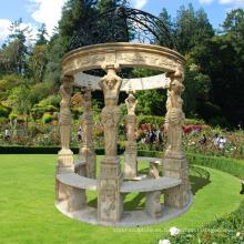 jardín exterior decoración piedra natural gazebo de mármol directo