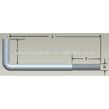 Parafuso de ancoragem, Gancho L, 3 / 4-10x4 In