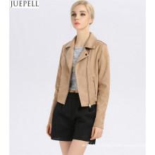 Outono Novos Modelos na Europa e América Marca Jaquetas De Couro Camurça Mulheres Parágrafo Curto Jaqueta De Couro Fino Moda