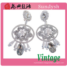 fine flower crystal stone handmade nice and simple design costume diamond ear tops 2014 trend fashion jewelry earrings guangzhou