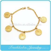 Bracelet en métal polonais brillant Bracelet en acier inoxydable 18K IP Gold Bijoux Femmes Saint Saint Charm