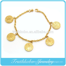 Shiny Polish Metal Bracelet 18K IP Gold Women Jewelry Saint Holy Charm Stainless Steel Bracelet
