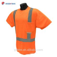 T-shirt de sécurité réfléchissant ANSI 107 de logo de Birdseye 100% de polyester orange / jaune de haute visibilité avec la bande réfléchissante