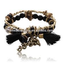 Buena reputación venta precio encanto borlas de cristal hecho a mano rosario cobre pulsera
