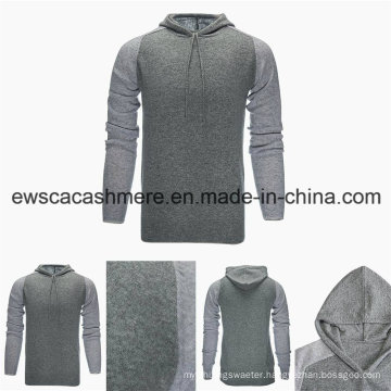 Men Hoodie Style Top Grade Pure Cashmere Sweater with Hat