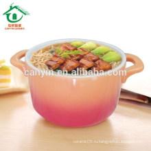 Розовая печатная керамическая посуда с двойными ушами