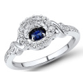 Blue Sapphire 925 Silver Rings Dancing Diamond Jewelry Wholesales