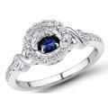 Blue Sapphire 925 Silver Rings Dancing Diamond Jewelry Оптовые продажи