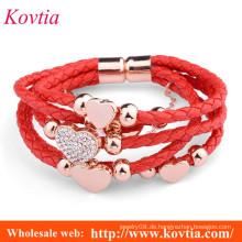 Frauen Herzform rote Schnur gewebt Leder Armband