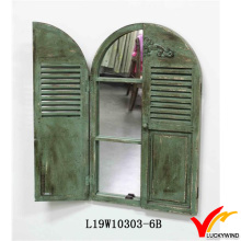 Antique Vintage Green Handmade Decorative Wooden Window Shutter Mirror