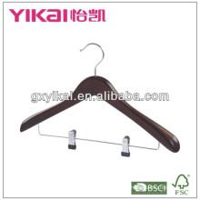 Percha de capa de madera con clip de metal 2PCS