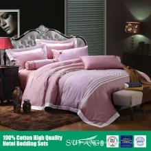 jogo cor-de-rosa claro do fundamento do hotel da cor / conjuntos jersery da tampa de duvet do algodão