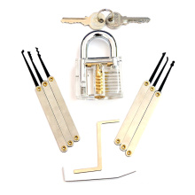 Transparent Practice Padlock with 8PC Lockpicking Tools (Combo 8-B)