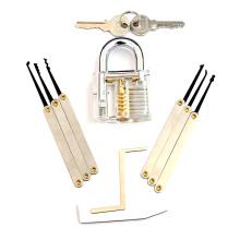 Cadeado de Prática Transparente com Ferramentas Lockpicking 8PC (Combo 8-B)