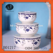 3pcs cuenco de sello fresco conjunto, chino tazón azul, porcelana 3pcs tazón de sello fresco