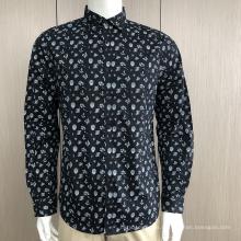 Camisa de manga larga con estampado 100% algodón para hombre