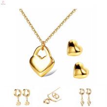 Brinco de aço inoxidável feito sob encomenda bonito ouro, conjunto de pingente de brinco de aço inoxidável de jóias de medalhão