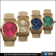 Gold Farbe Quarz Mode Uhr maßgeschneiderte Gesicht Edelstahl zurück