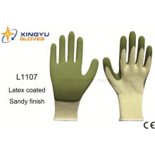 10g High Grade Polyester Shell Latex Sandy Coated Safety Work Glove (L1107)