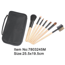 7pcs plastic handle makeup brush set with zipper case