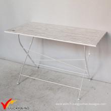 Table à manger pliable vintage en dalle de bois carrée