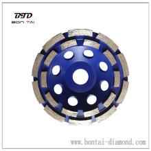 Dubbele rij cup wielen voor snelle verwijdering, vormgeven en gladstrijken van steen, beton en metselwerk