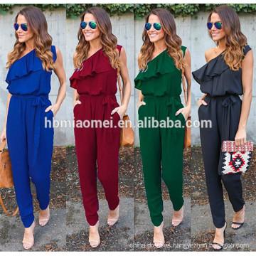 Hot selling instock women jumpsuit Irregular lotus leaf straps chiffon summer adult onesie