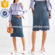 Dentelle et Satin-garniture Denim Wrap Jupe Fabrication En Gros Mode Femmes Vêtements (TA3024S)