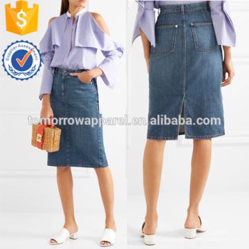 Laço e cetim aparado denim envoltório saia fabricação atacado moda feminina vestuário (td3024s)
