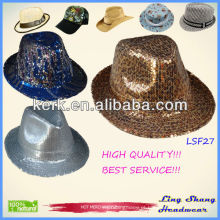 LSF27 Ningbo Lingshang 2014 moda Sequins atacado tecido Fedora chapéu balde