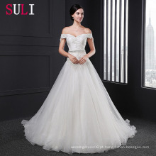 Z008 Organza Backless A-Line Off Shoulder Sleeves Vestido de noiva de renda 2016
