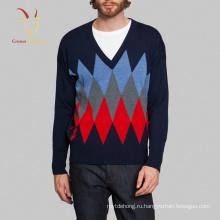 2017 вскользь кашемир мужчины свитера V-образным вырезом пуловер