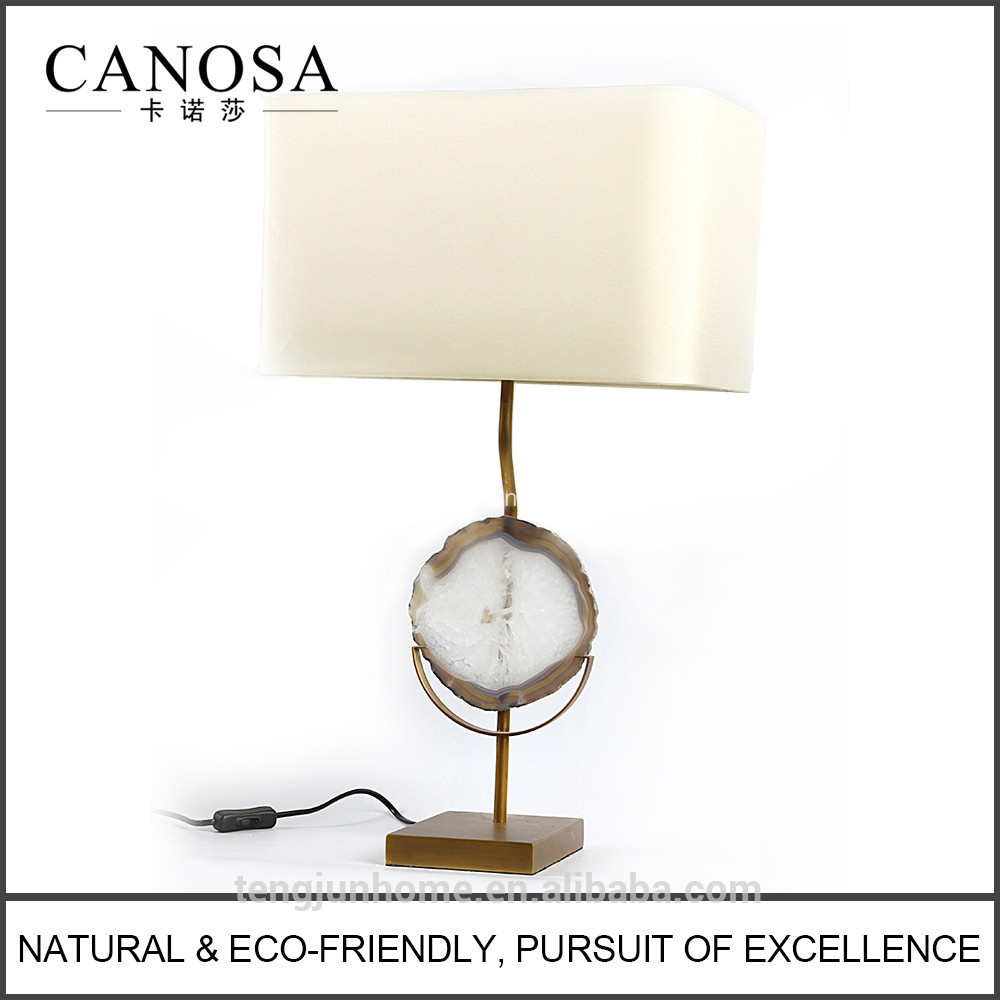 Canosa agate decor table lamp with metal pedestal