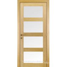 Unfinished interior 4 glass insert solid wood shaker door