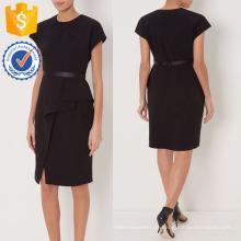 New Fashion Black Pencil Kleid mit drapierten Seite DOM / DEM Herstellung Großhandel Mode Frauen Bekleidung (TA5302D)