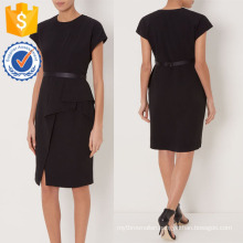 New Fashion Black Pencil Dress With Draped Side DOM/DEM Manufacture Wholesale Fashion Women Apparel (TA5302D)