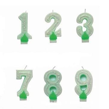 green sparkling number candle