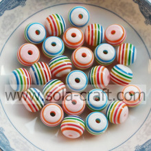 8MM 500pcs/lot New Fashion Assorted Round Shape European Beads Colorful Rainbow Stripes Resin Beads Fit Jewelry Making