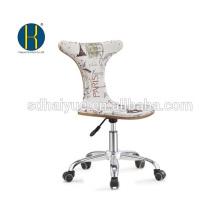 2017 silla de oficina de madera de la tapicería blanca clasificada superior de la tela con la base del cromo