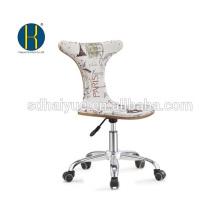 2017 Top rated white fabric upholstery wooden office chair with chrome base
