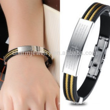 2015 new authentic retro black gold Stainless Steel Cross Bracelet Silicone Bracelets male PH842