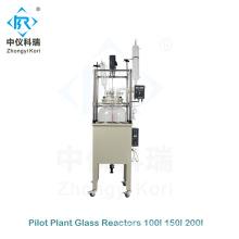 Reator químico de vidro da planta piloto