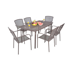 Malhas de ferro 7pc mobília ao ar livre de todos os tempo jantando o jogo
