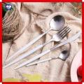 18 a 10 faca afiada e garfo colher de ouro preto L utensílios de mesa inox de alta qualidade garfo e oeste