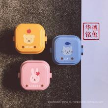 fiambrera plástica impresa cuadrada japonesa al por mayor de los niños del bento