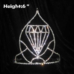 Coronas de concurso de 6 pulgadas de altura con forma de diamante grande