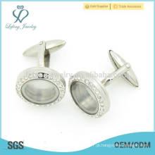 Nova chegada de aço inoxidável de cristal de prata camisa cufflink jóias