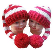 Chapéu do Crochet da mão Boné Chapéu da cauda do POM POM da festa do bebé