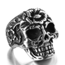 Titanium steel  Religious totem skull flower ring