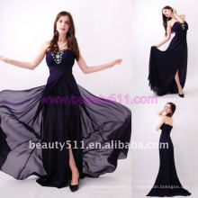 Astergarden Photo réelle Sweetheart Beading Floor Length Robes en mousseline de soie noir AS148